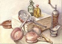 Geschirr, Flasche, Kupfer, Aquarell