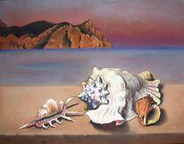 Kap, Muschel, Meer, Malerei