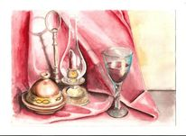 Lampe, Glas, Tuch, Aquarell