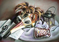 Maske, Venedig, Malerei, Stillleben