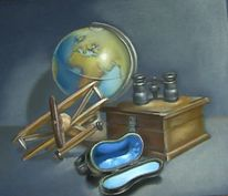 Globus, Fernglas, Flugzeug, Malerei