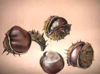 Kastanien, Pastellmalerei, Herbst, Stillleben