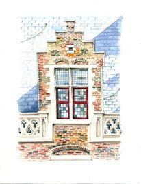 Bunt, Fenster, Architektur, Ziegelstein