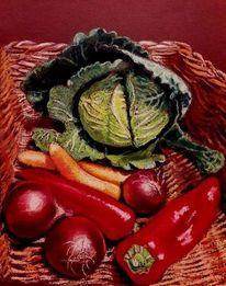 Gemüse, Karotte, Korb, Paprika