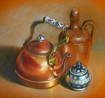 Geschirr, Kupfer, Malerei, Stillleben