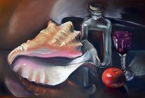 Flasche, Mandarine, Muschel, Glas
