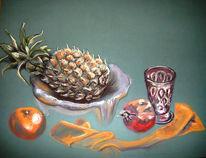 Orange, Pastellmalerei, Ananas, Granat