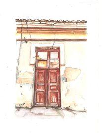 Tür, Alt, Aquarell