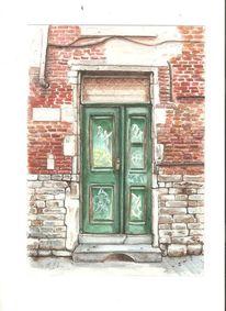 Tür, Graffiti, Ziegelstein, Malerei