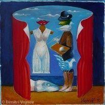 Aktion, Acrylmalerei, Magritte, Malerei