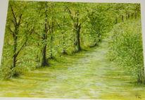 Die natur erwacht, Ölmalerei, Mai, Malerei