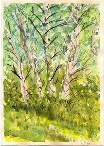 Birken, Malerei, Abstrakt