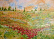 Licht pur, Am berg, Ölmalerei, Blumenwiese