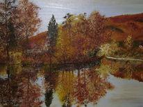 Herbst laub, Entenparadies, Ölmalerei, Juessee in herzberg