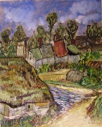 Kleine malschule, Ölmalerei, Lila reeddach, Malerei