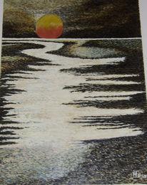 Ölmalerei, Ebbe, Mondaufgang, Licht