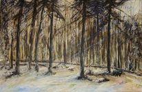 Ölmalerei, Kälte, Schnee, Sonnenstrahlen