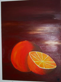 Obst, Acrylmalerei, Orange, Pinnwand