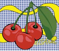 Kirsche, Illustration, Obst, Pop art