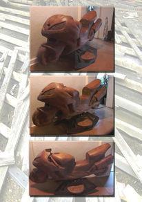 Kunsthandwerk, Holz, Schaukel, Motorrad