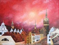 Acrylmalerei, Landschaft, Abstrakt, Malerei