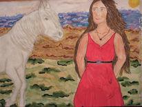 Farben, Landschaft, Pferde, Wasserfarbe