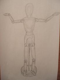 Grau, Weiß, Bleistiftzeichnung, Modell