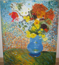 Bunt, Blumenstrauß, Malerei, Pflanzen
