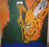 Bunt, Wasser, Giraffe, Malerei