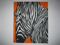 Orange, Streifen, Zebra, Malerei