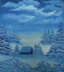 Landschaft, Winter, Ölmalerei, Malerei