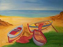 Meer, Strand, Boot, Ölmalerei