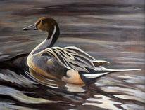 Acrylmalerei, Ente, Wasser, Malerei