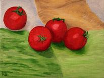 Gemüse, Tomate, Ölmalerei, Malerei