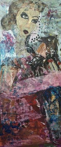 Rosa kleid, Rot, Frau mit knoten, Malerei