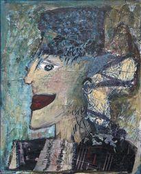 Türkis, Hut, Frauenprofil, Blau
