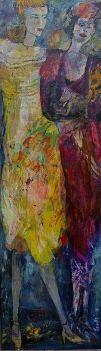 Gelb, Zwei frauen, Rotes kleid, Malerei