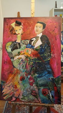 Paar, Blumen, Rot, Figur