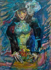 Blau, Paar, Große hände, Malerei