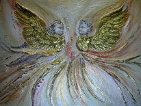 Gold, Acrylmalerei, Liebe, Engel