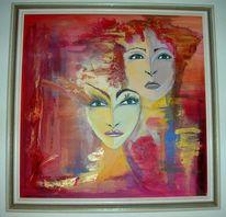 Kopf, Frau, Portrait, Rot