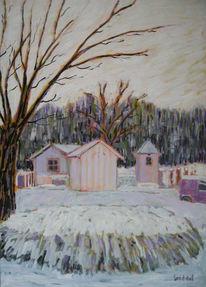 Hardern, Winter, Schweiz, Ölmalerei