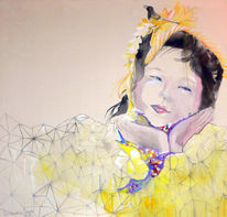 Japanese children, Bird girl, Freundlich, Emotion