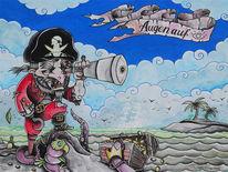 Octo, Pirat, Schatz, Gold