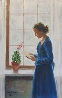 Frau, Malerei, Abstrakt, Akt
