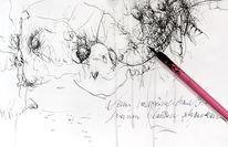 Spontan, Schenken, Federzeichnung, Chaos