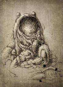 Federzeichnung, Schlund, Zeichnungen, Surreal