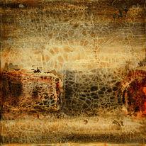 Verwittert, Acrylmalerei, Spachteltechnik, Krakelee