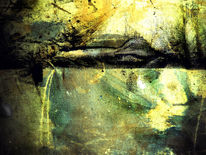 Haus, Abstrakt, Acrylmalerei, See