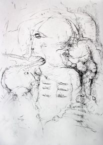 Kohlezeichnung, Kleinkrieg, Demolierungen, Zeichnungen